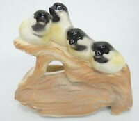 Vintage Shawnee Pottery Planter with Four Chickadees Birds Perched on Branch
