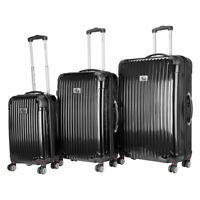 Chariot Paola 3 Piece Hardside Expandable Lightweight Spinner Black