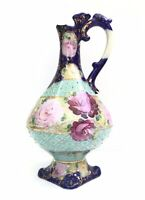 Antique Nippon Porcelain Hand Painted Roses Carafe, Pitcher, 1890's NR