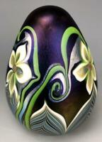 ORIENT FLUME STUDIO BLOWN PULLED FEATHER FLORAL IRIDESCENT ART GLASS PAPERWEIGHT