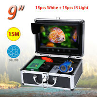 9 inch 15M Fish Finder 1000TVL Underwater Fishing Camera 30x LEDs Light Lake Ice