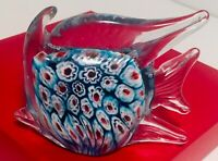 Vintage Hand Blown Murano Millefiori Colorful Art Glass Angel Fish Paperweight