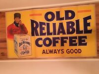 """1920 62"""" Antique OLD RELIABLE COFFEE Vintage General Country Store Tin Can Sign"""