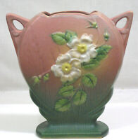 Vintage ROSEVILLE Art Pottery Vase White Rose 1940 984-8