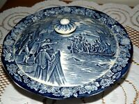 NEW? LIBERTY BLUE COVERED SERVING DISH BOSTON TEA PARTY W/ LID 9 1/4