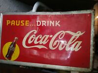 VINTAGE 1948 PAUSE DRINK COCA COLA METAL TIN SIGN SODA ESTATE FIND 56x32