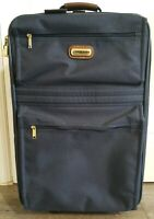 Vintage Jaguar Navy Blue Rolling Carry-on Suitcase