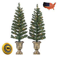 2-Pack Holiday Time Pre-Lit Porch Christmas Trees White Lights Green Color, 3.5'
