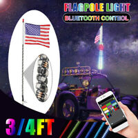 3FT RGB LED Spiral  Whip Antenna Lighted w/ Flag bluetooth APP for OFF Road ATV