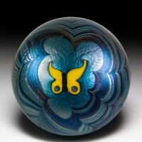 Lundberg Studios 1974 yellow butterfly pulled-feather surface design paperweight