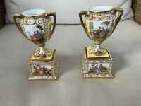 PAIR German Dresden Vases Urns floral decor porcelain Miniature