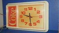 VINTAGE 1985 ENJOY COCA COLA COKE WALL HANGING CLOCK w SECOND HAND LIGHTED SIGN