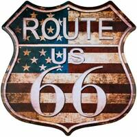 Route 66 US Flag Rustic Retro Road U.S. 66 Highway Shield Tin Metal Sign