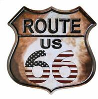 Route 66 American Flag Highway Vintage Retro Wall Décor Shield Metal Sign