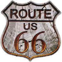 Route 66 Highway Rustic Wood Look Retro Wall Décor Shield Metal Sign