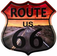 Route 66 Highway Image Retro Western Wall Décor Shield Metal Sign