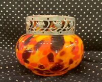 Art Deco Czech Orange Yellow Spatter Glass Flower Frog Vase