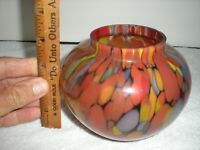 Czech Art Glass Vase ginger jar ,Spatter , Splatter, glass  4