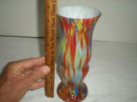 Czech Art Glass Vase,Spatter , Splatter,End of Day glass 8.25
