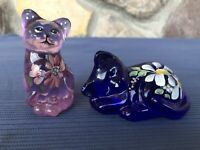 Fenton Pink Blue Cats With Floral Design HP P Lauderman S Waters