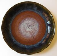 Bill Campbell Studio Pottery quishe pie plate blue brown signed