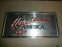 VINTAGE THE HEARTBEAT OF AMERICA CHEVY LICENSE PLATE POLISHED ALUMINUM - UNUSED