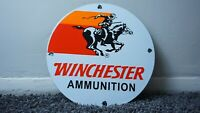 VINTAGE WINCHESTER SHOTGUN GASOLINE PORCELAIN SIGN GAS MOTOR OIL STATIO