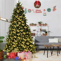 7FT Pre-Lit Bushy Christmas Trees 100 LED Lights Warm White Xmas Indoor Outdoor