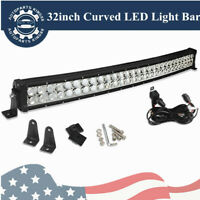 32inch 420W Curved LED Light Bar Combo+Free Wiring Set Offroad Truck 4WD ATV SUV