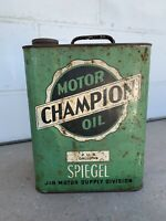Vintage Motor Champion Oil J&R Supply Divisi 2Gallon Metal Can Gas Station Sign