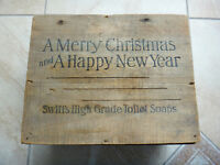 Antique 1908 Wood Ad Box - Swifts Toilet Soap - Merry Christmas