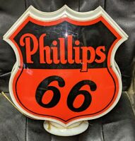Old Original Complete Phillips 66 Diecut Gas Pump Station Globe Sign