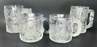 Vintage 1995 McDonalds BATMAN FOREVER Glass Mugs Set of 4 Robin Two Face Riddler