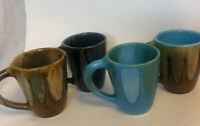 Dryden Pottery Mugs Brown  Blue Green Drip Set of 4 Arkansas Vintage Coffee Cups