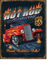 Hot Rod Highway Route 66 Retro Tin Metal Sign 13 x 16in