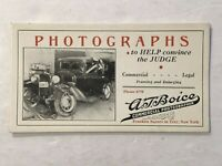1930's Advertising Ink Blotter Boice Photographer Franklin Sq. Troy NY CAR Photo