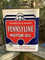Rare Vintage Pennsyline Motor Oil Quaker 2 Gallon Metal Can Gas Station Sign