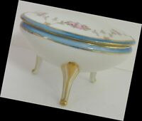 Vintage Nippon Trinket Box with Lid Morimura Hand Painted Flowers Gold Border