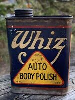 Rare Antique c.1915 Original Whiz Auto Polish Metal Oil Can Gas Sign
