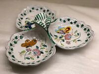 Hand Painted Ceramic Serving Piece- 3 Leaves- Flowers & Butterflies- Italy