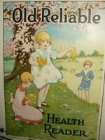 RARE ANTIQUE ORIGINAL OLD RELIABLE COFFEE TROLLEY SIGN PAPER ADVERTISING 1926 OH