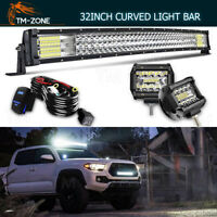 Curved 32'' 441W LED Work Light Bar+4