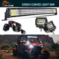 Curved 30/32'' LED Work Light Bar+Pods+Wiring Kit For Polaris RZR 800 900 XP1000