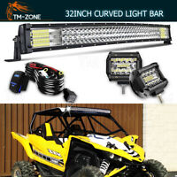 Curved 30/32'' 441W LED Work Light Bar+Pods+Wiring Kit Fits Yamaha YXZ1000 YFM
