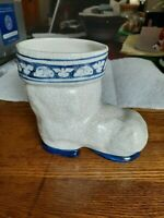 1984 Dedham Pottery Shed Boot with Rabbits