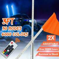 2X 3ft LED Lighted Antenna Whip Light w/Flag for ATV Polaris RZR 4 Wheeler UTV