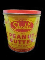Vintage Shedd's Peanut Butter Advertising Tin Pail With Elves on Sides