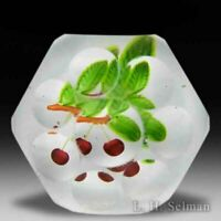 Antique Saint Louis cherries faceted glass paperweight