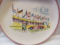 Rare Vintage Ulmer Keramik W. Germany Porsche Plate At Race Track #1 Car