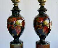 Excuisite Vintage Pair of Morecroft Pottery Table Lamps Flower Made in England